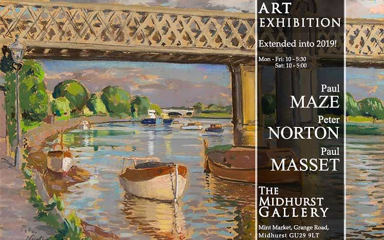 Current Exhibition - paul Maze, Peter Norton, Paul Masset - An exhibition of over 100 original works by three generation of artists influenced by Sussex, France and the sea. Pastels, Oils, Watercolours and Gouache paintings.