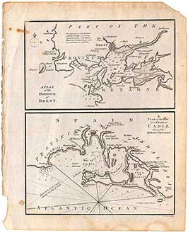 A Plan Of The Harbour Of Brest / A Plan Of The Bay & Roads Of Cadiz
